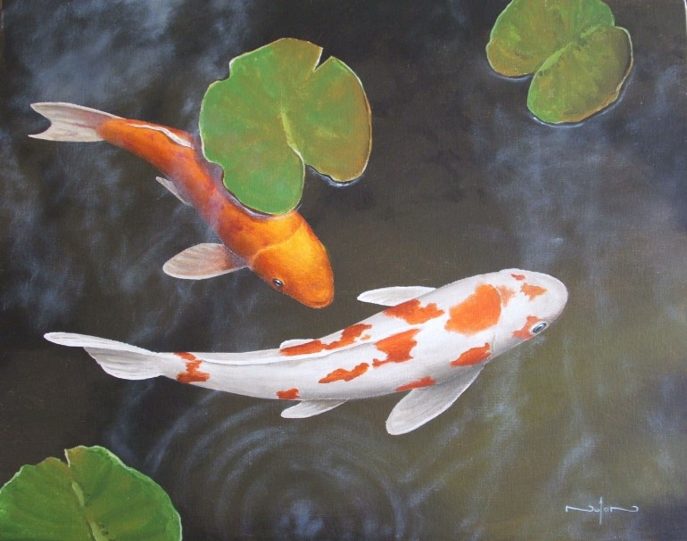 Art by nolan blog archive how to paint koi fish and for Koi fish pond for beginners