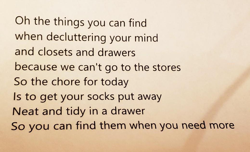 Head to where your socks live, Writing