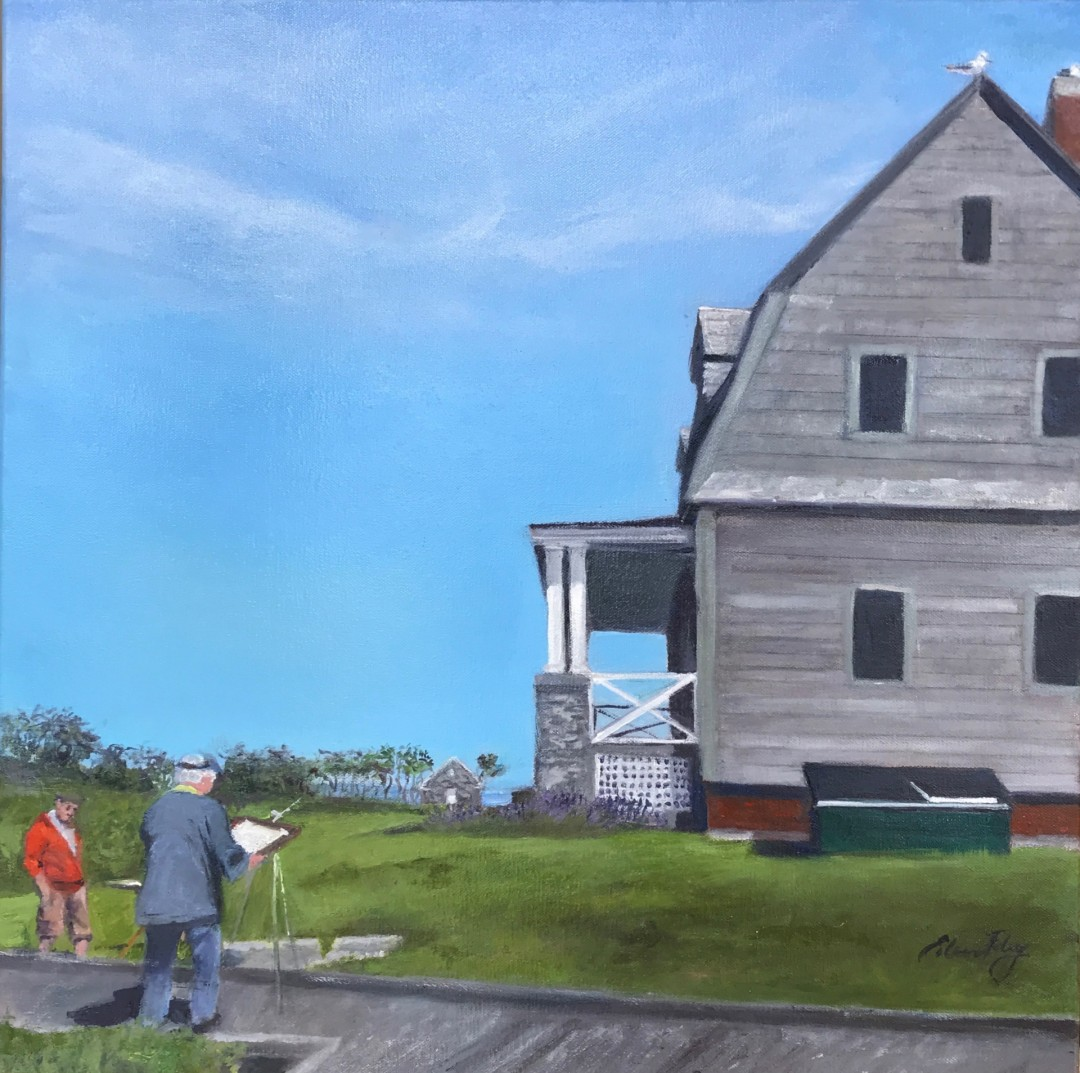 Painting at Wood Island Lighthouse