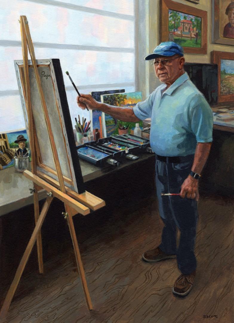 Papa in His Studio