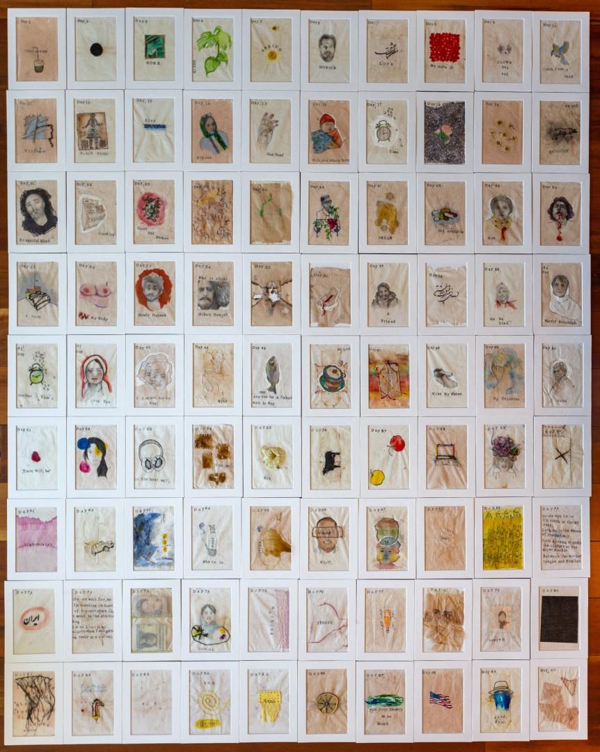 Quarantine Diary on Tea-Bag Paper, Two-Dimensional Wall Art > Paintings