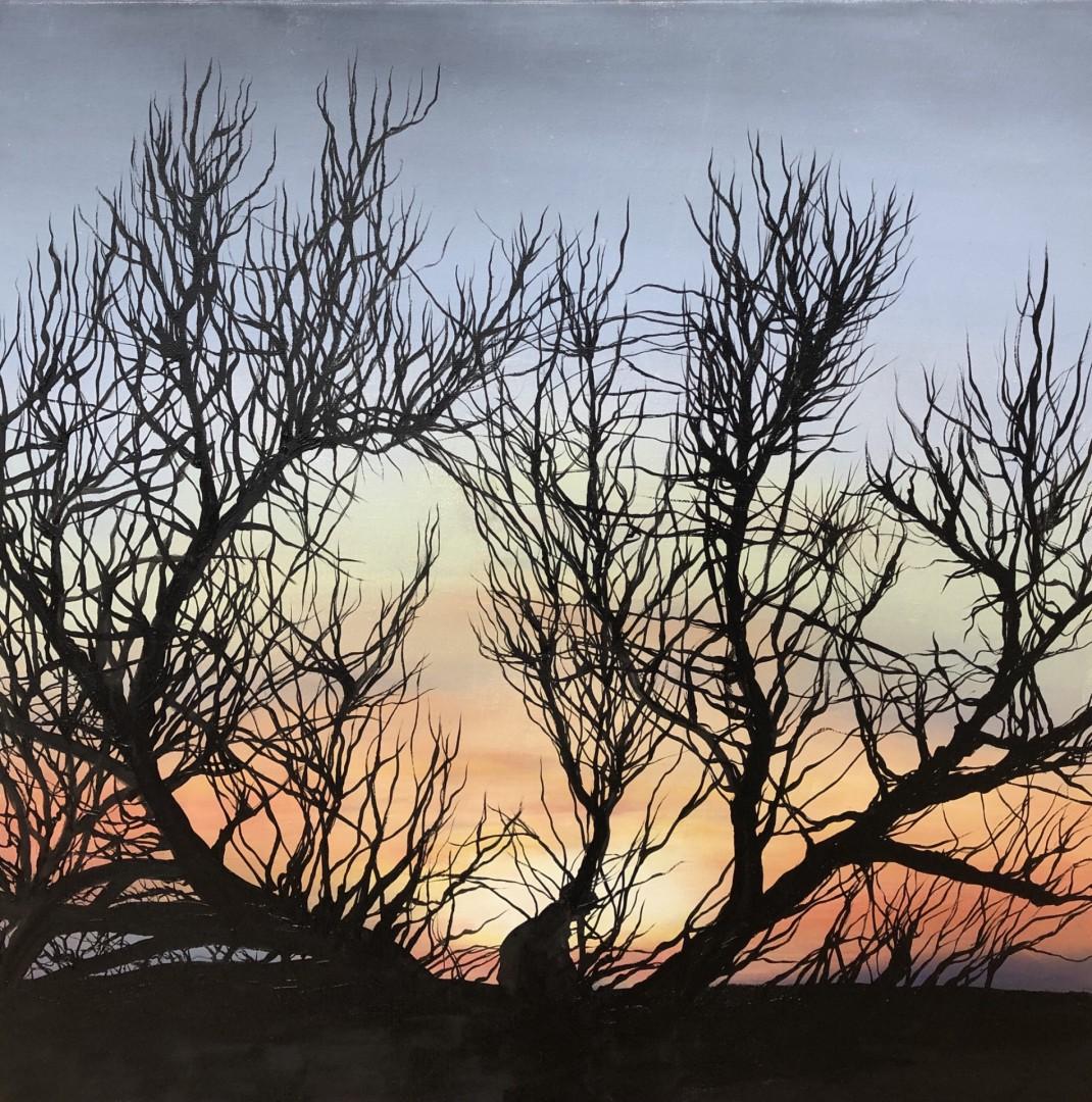 Phoenix Rising Malibu Tryptych (work is 3 paintings)