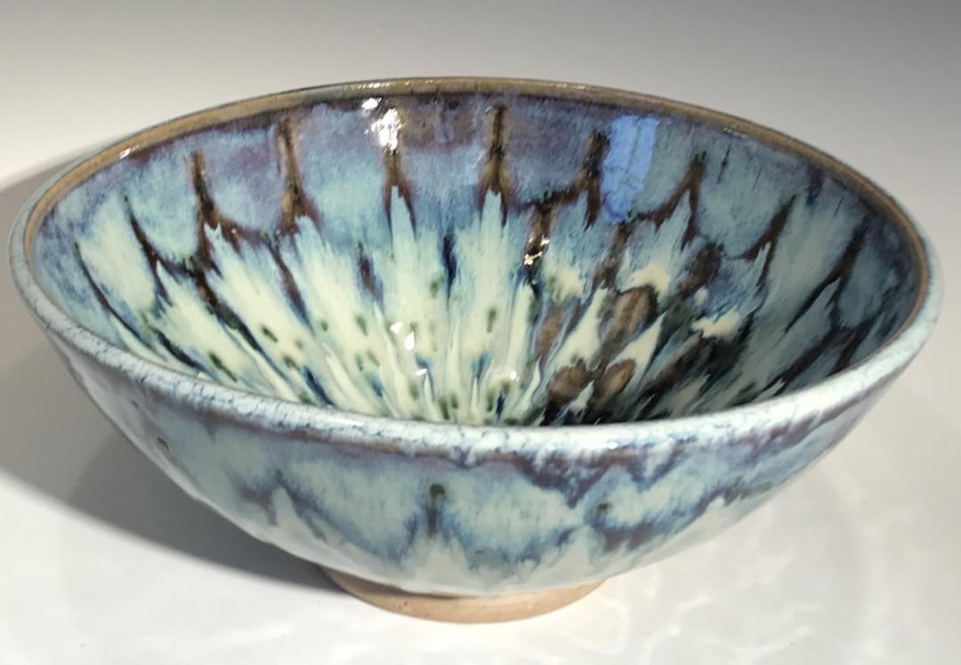 Blue Petal Bowl with Green Spots
