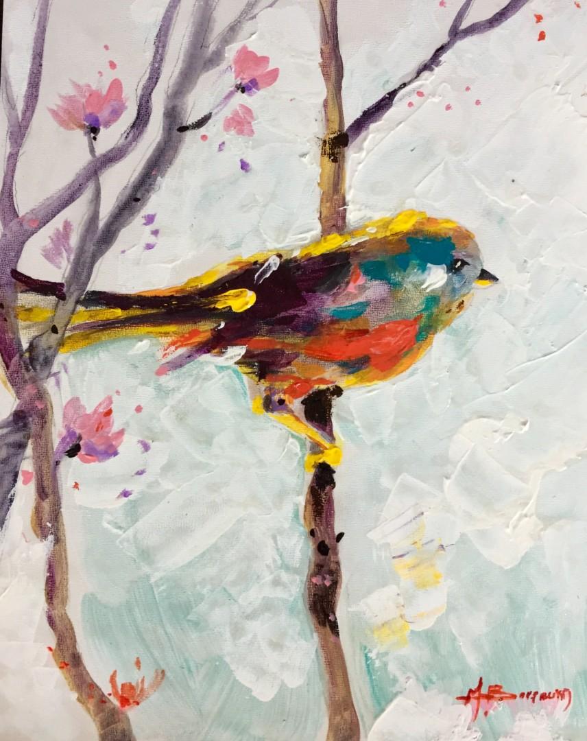 Bird on Flowering Branch