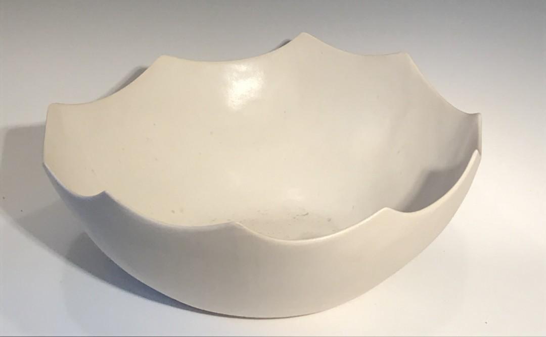 White Scalloped Bowl Handbuilt
