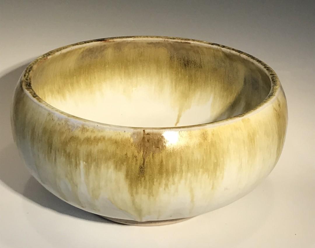 Gold & White Thrown Bowl