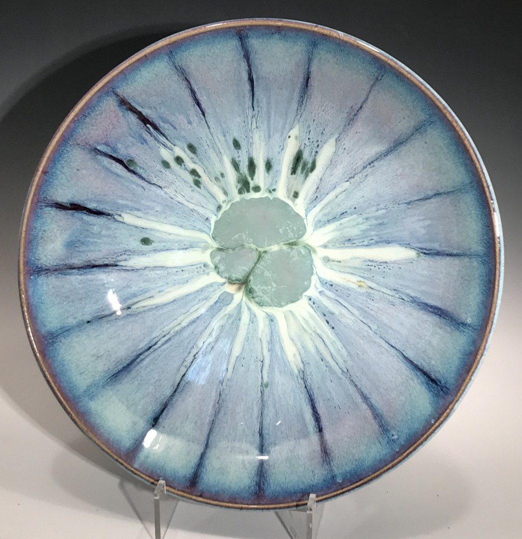 Wide Blue Bowl with 3 Stones