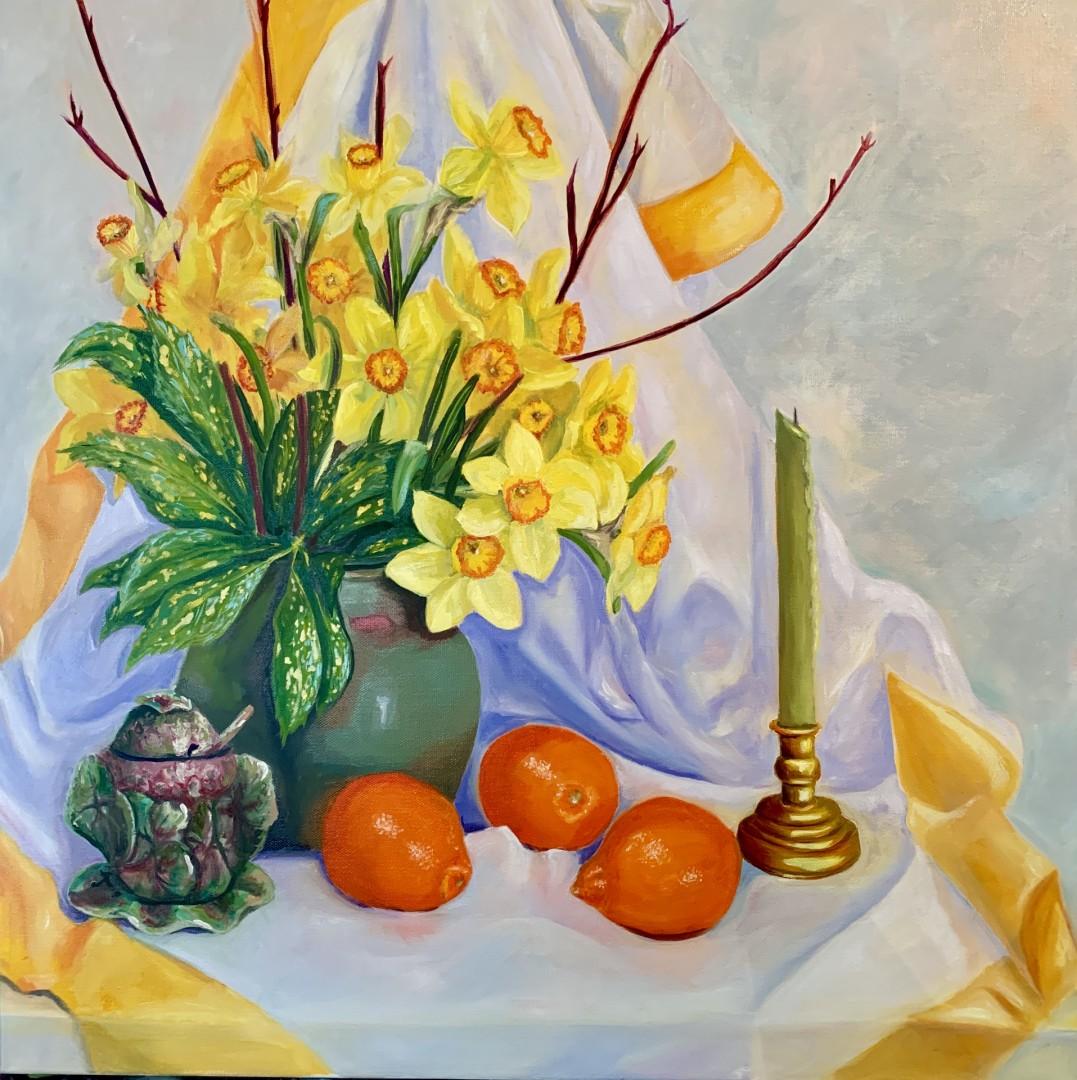 Grandmas things with daffodils