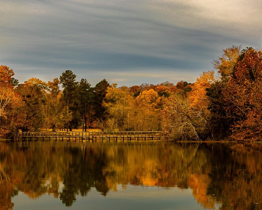 Autumn Pond with Bridge