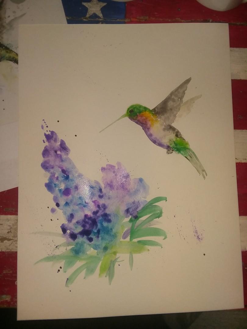 Watercolor hummingbird, Painting