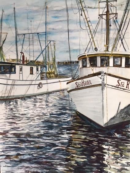 Shrimp Boats, Watercolor