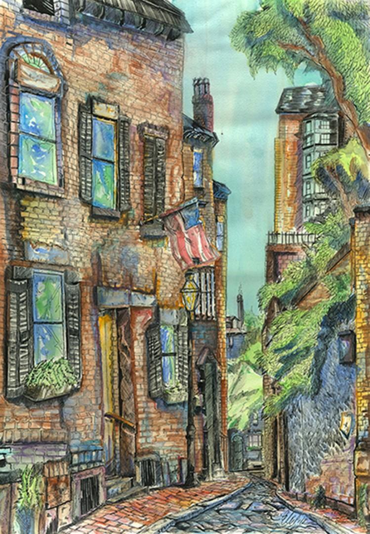 """Acorn Street, Beacon Hill"""