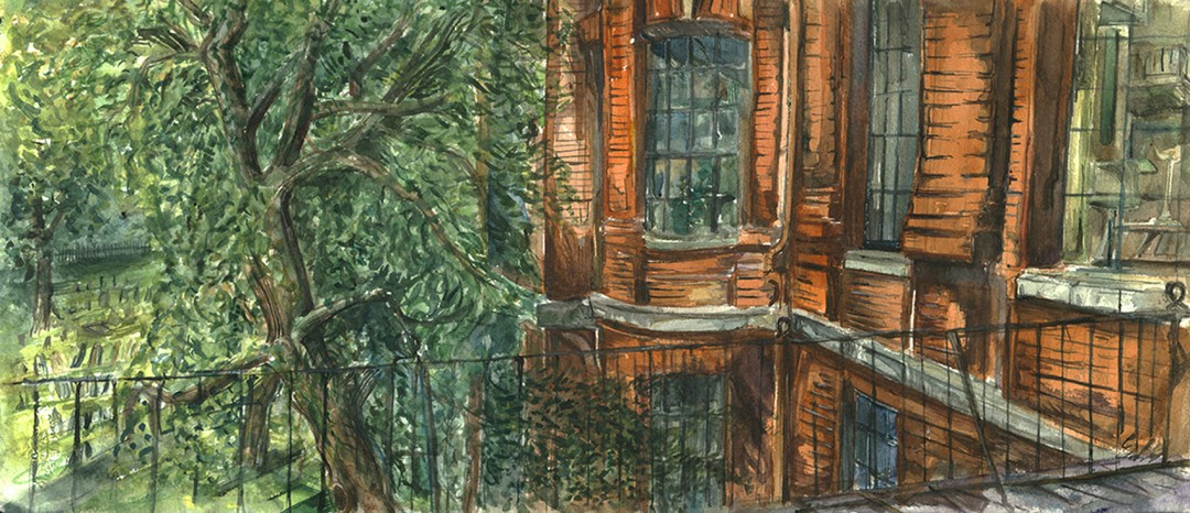 """Outdoor Terrace Over Granary Burying Ground"""