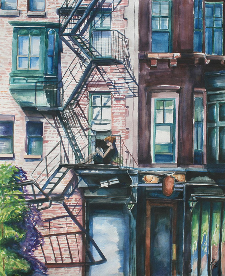 """""""Enjoying the Summer Heat from the height of a Fire Escape (Boston's South End)"""