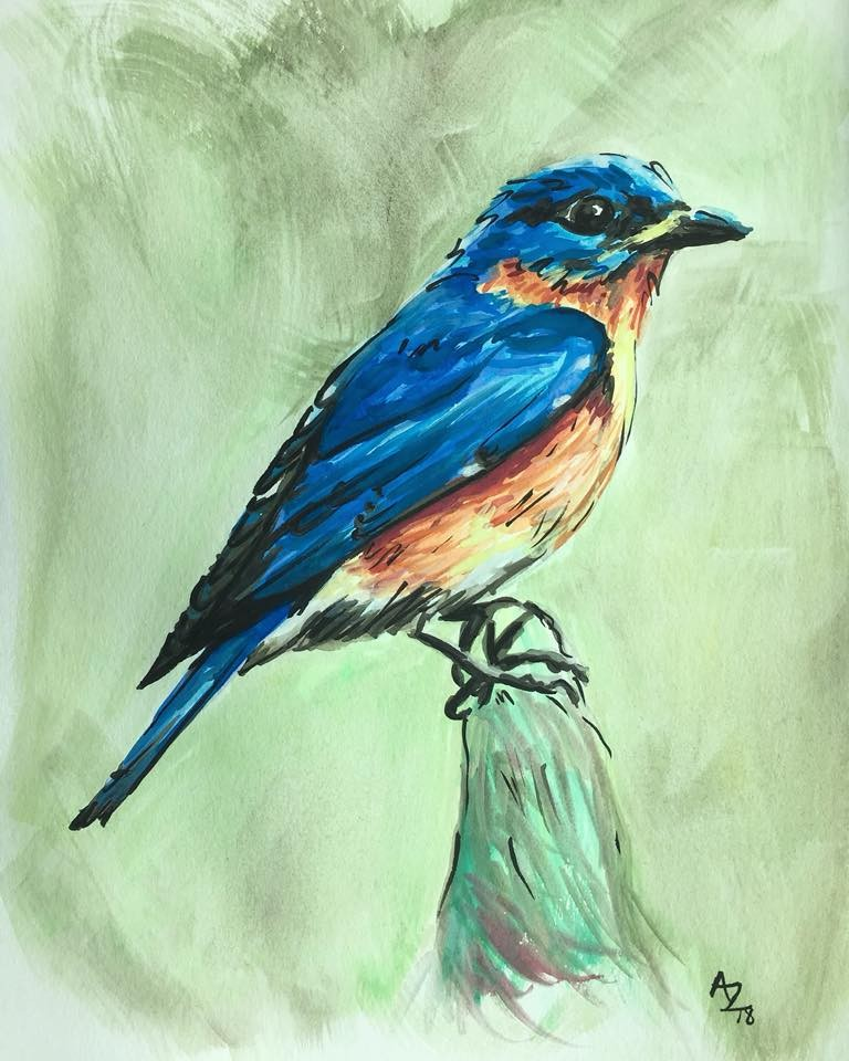 Blue Bird Watercolor Framed