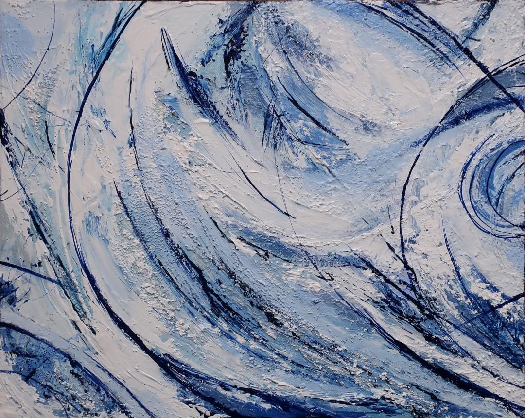 Blue Swirl Ocean - set of two paintings