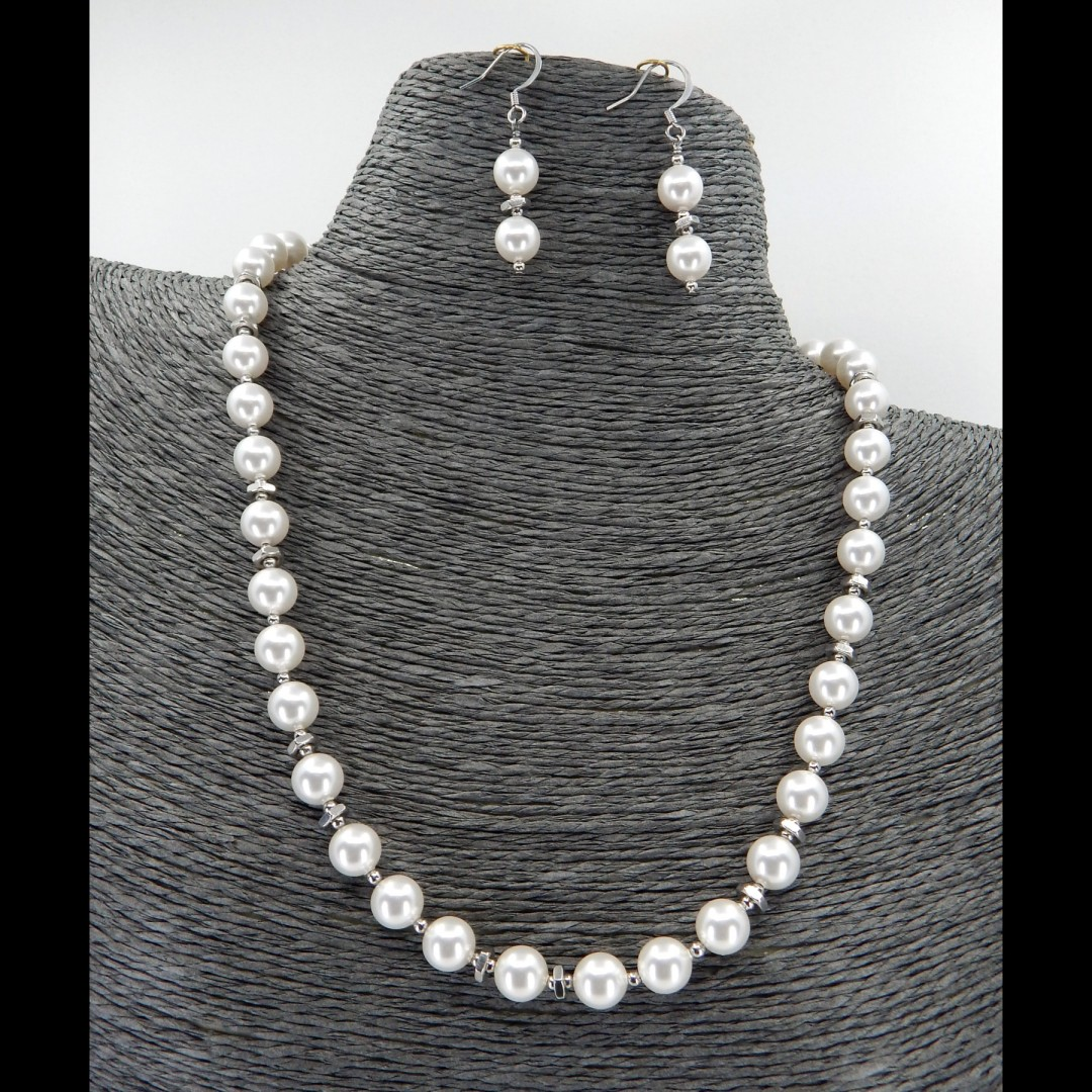 White Swarovski Pearl Necklace & Earring Set - The Jen Collection