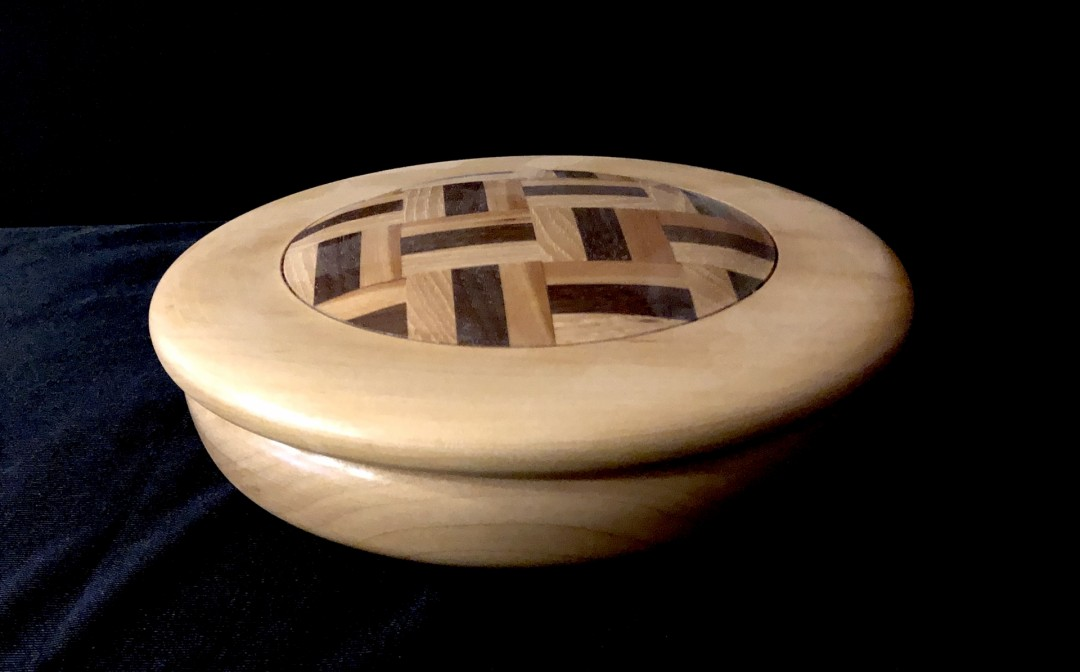 Wood-Turned Parquet Covered Bowl