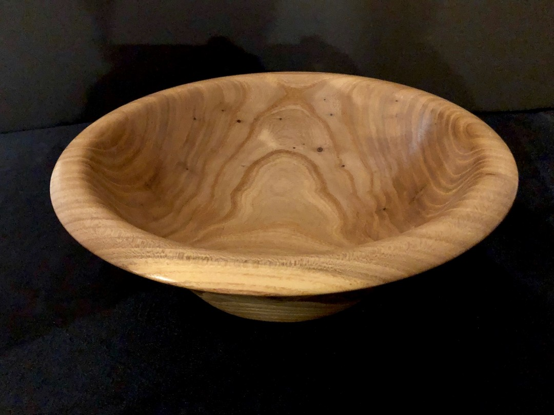 Wood-turned Siberian Elm Bowl with a Curved Decorative Rim