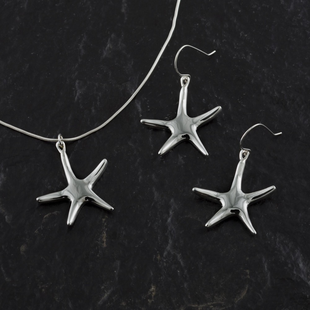 handmade Starfish Necklace -sterling silver-