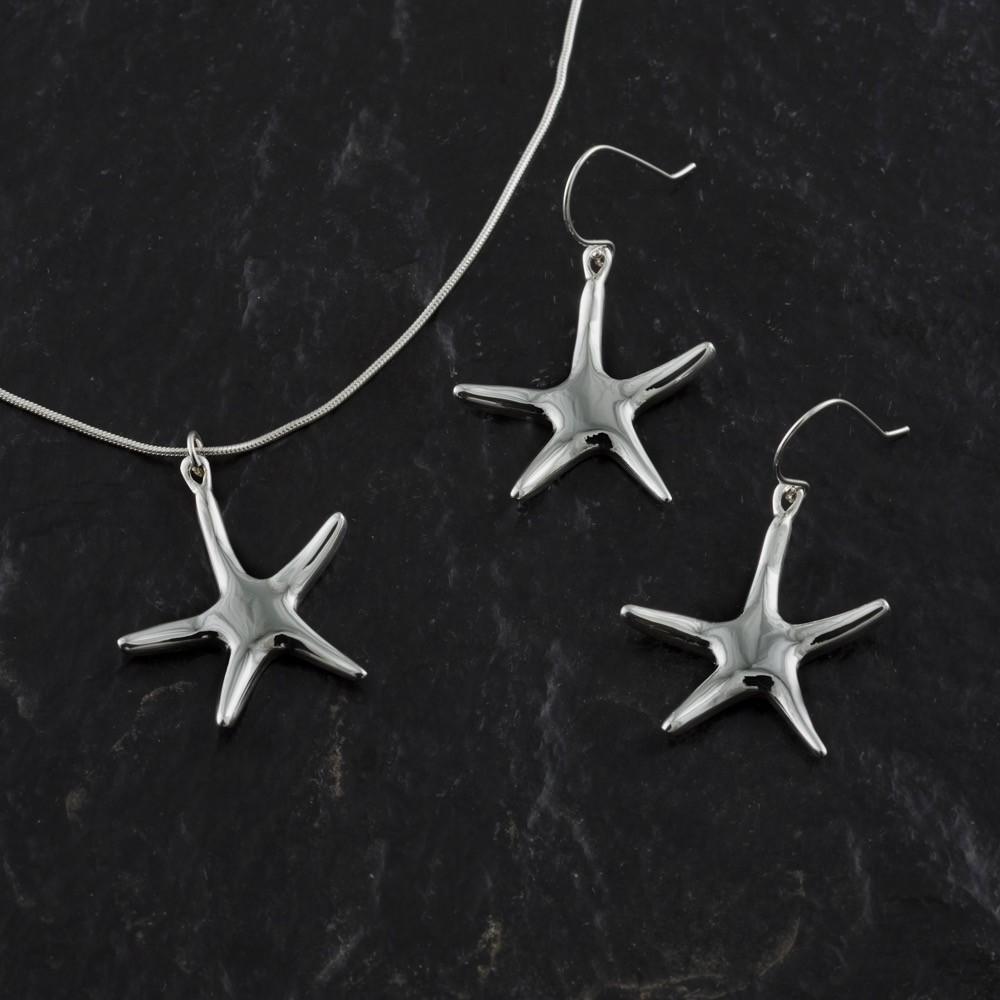 handmade Starfish Earrings -sterling silver-