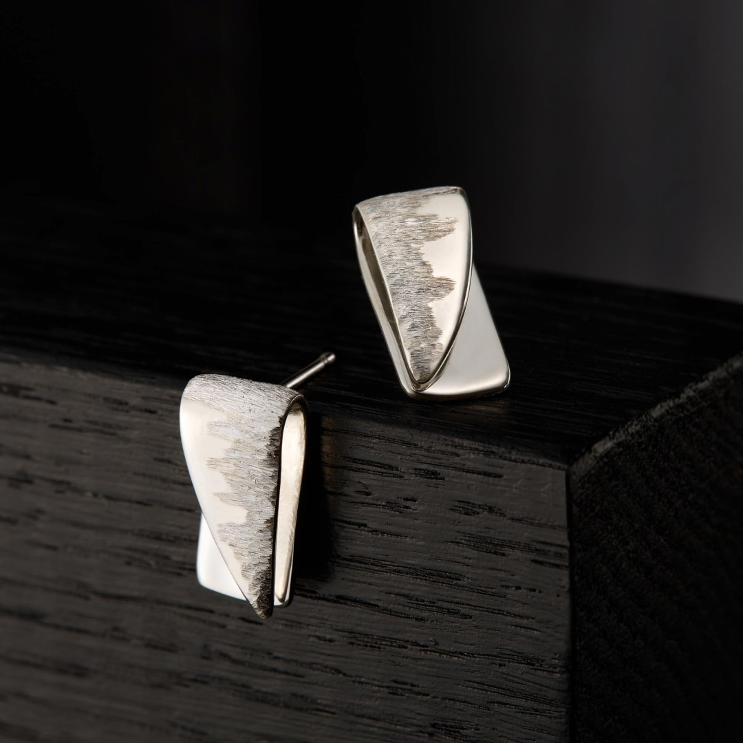Abstract Bar earrings -handmade- sterling silver