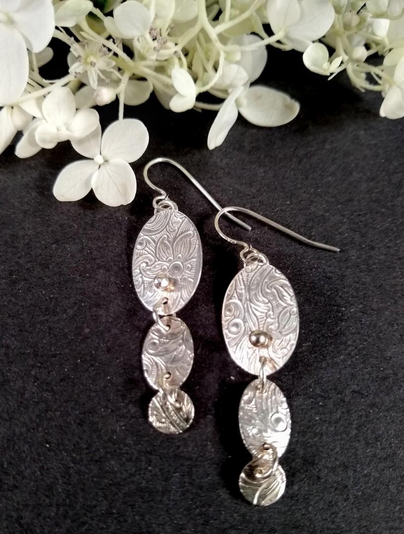 Sterling, 3-tiered earrings