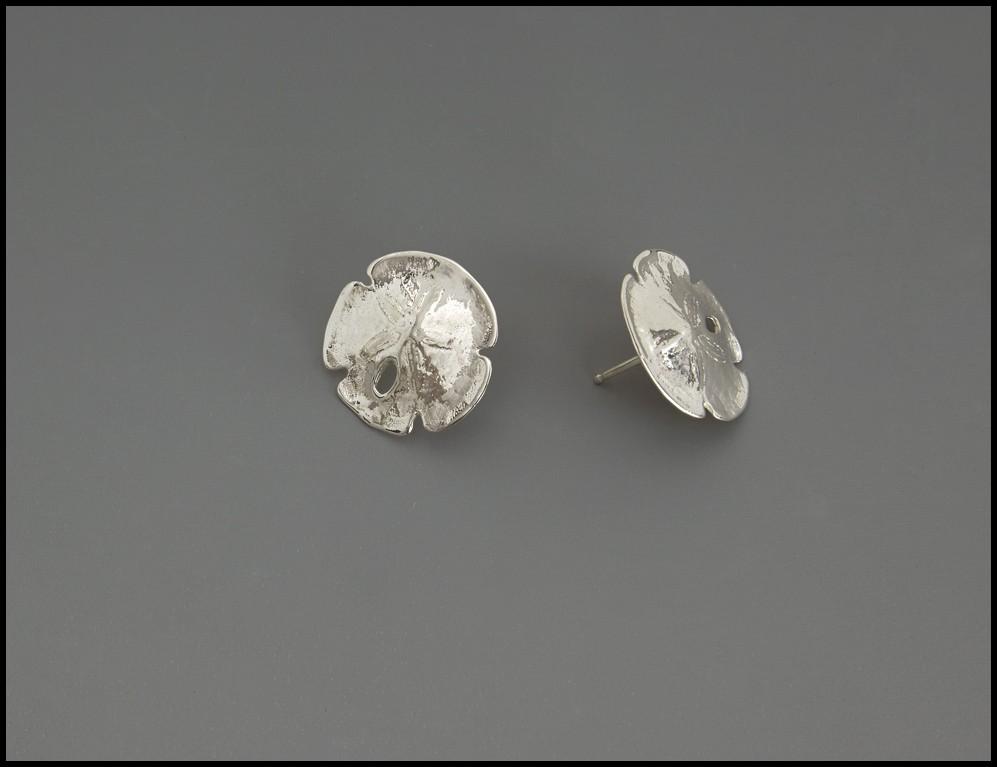 Sanddollar Earrings-handmade- sterling silver