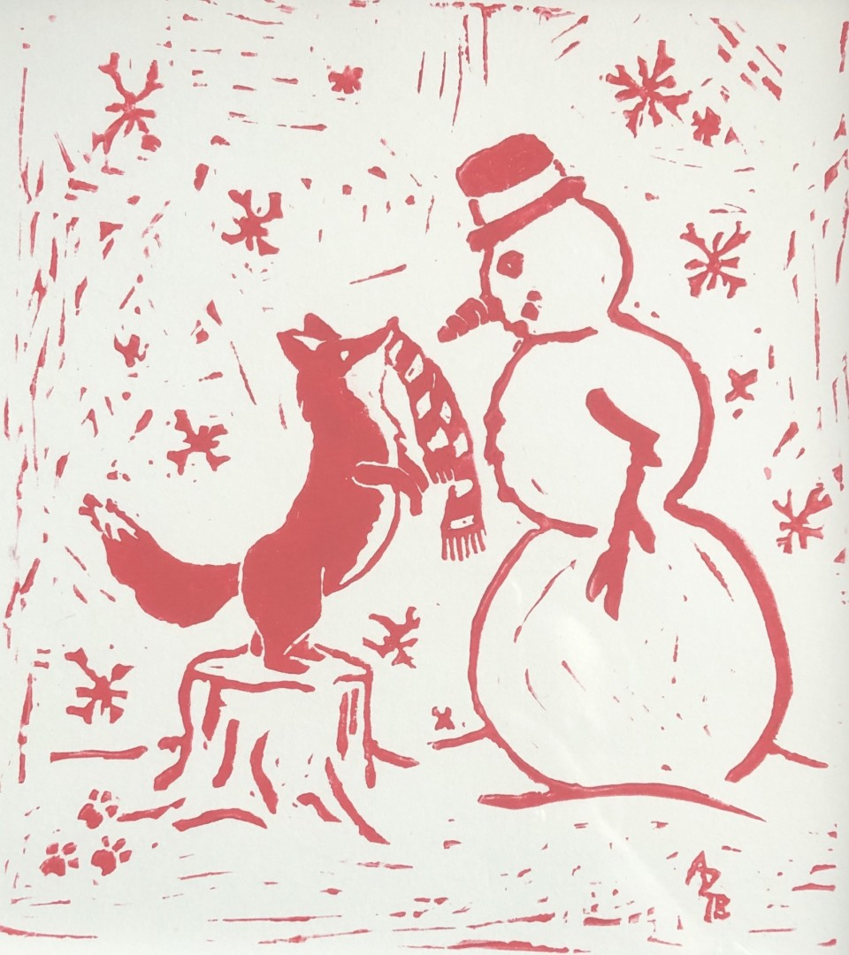 Red Fox and Snowman