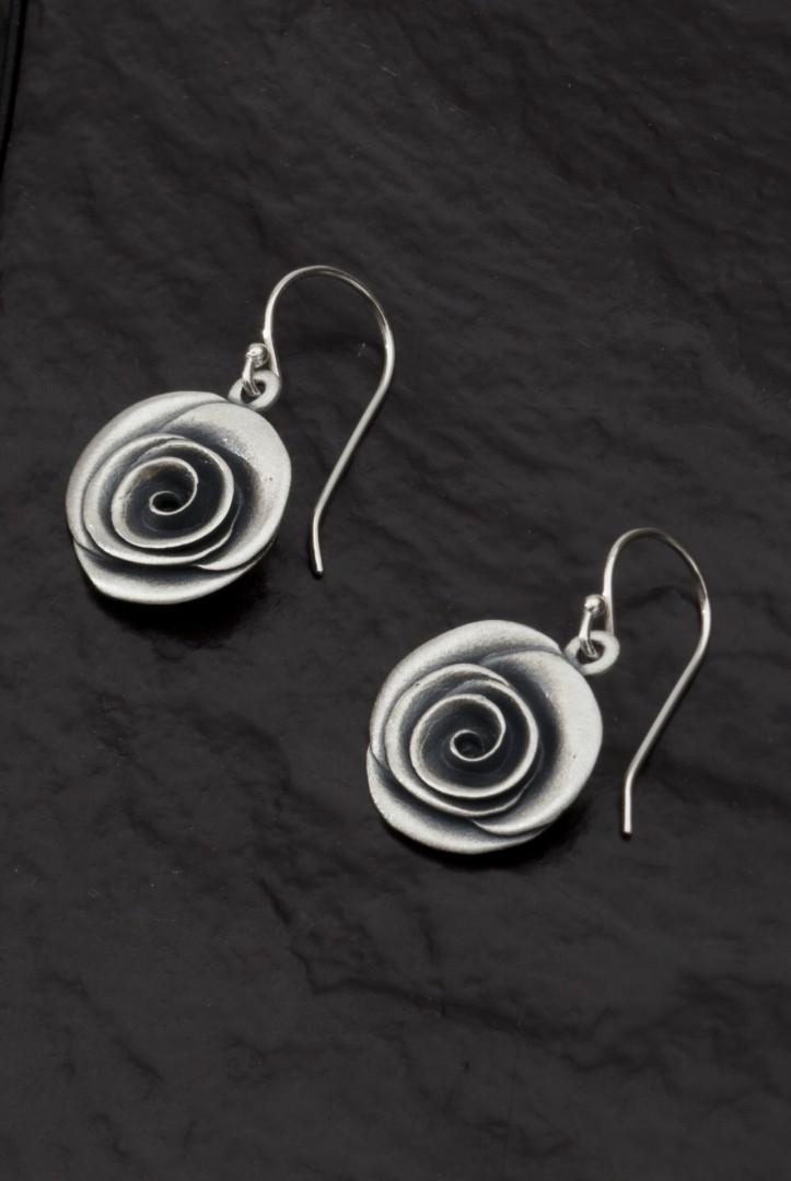 Rose Earrings -handmade- sterling silver