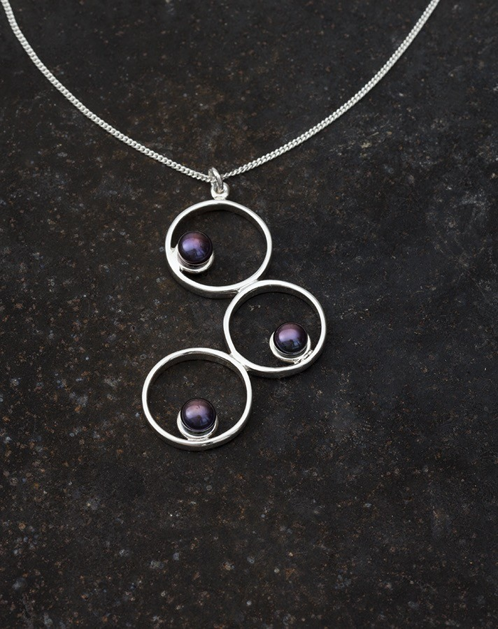 3 Circle pendant with freshwater pearls -handmade- sterling silver