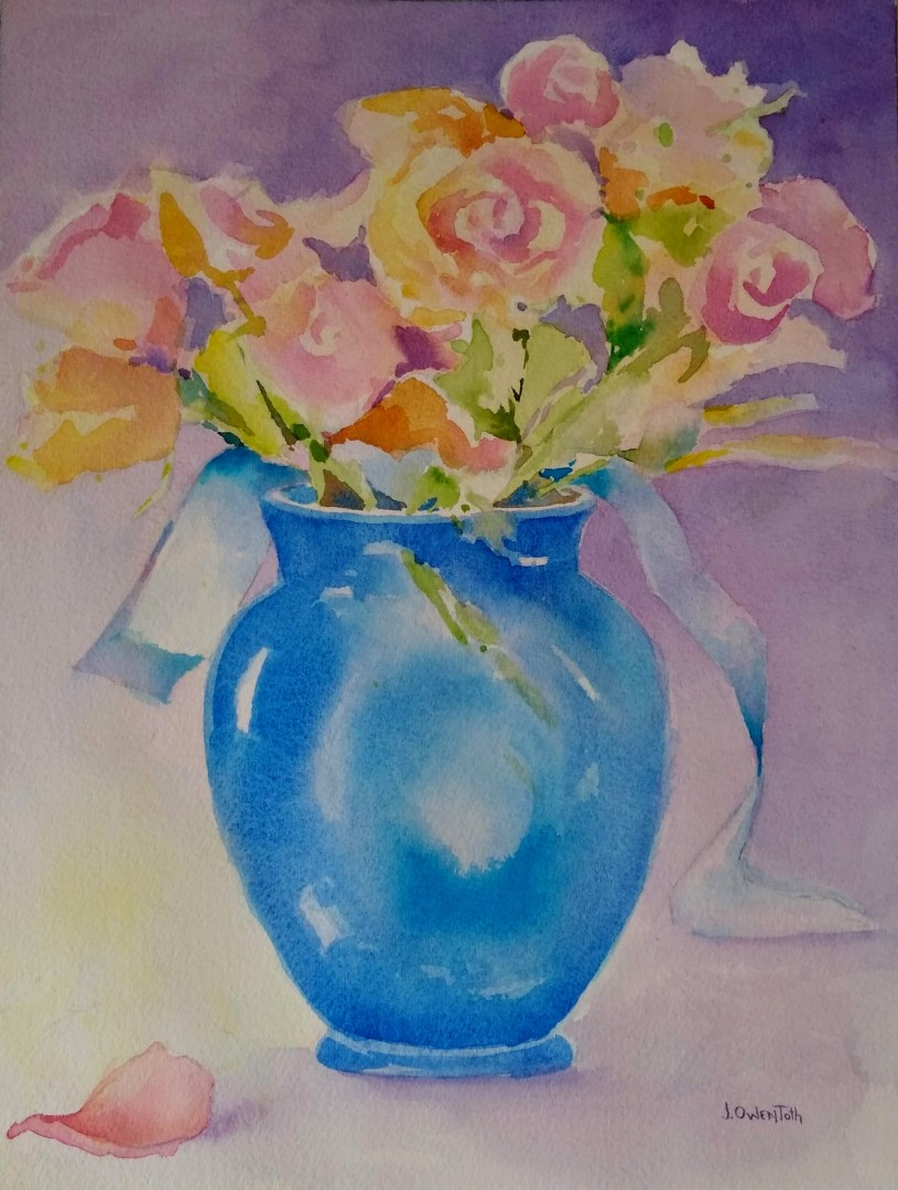 Blue Vase and Roses