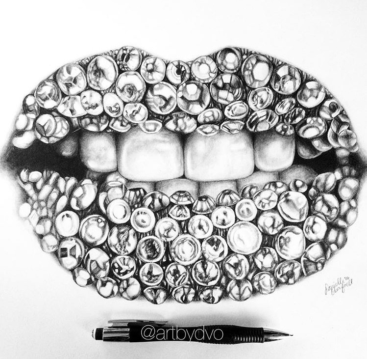 Diamond Lips - artwork by Danielle Oberfoell:  Still Life, Realism, Pencil/Colored Pencil, Paper