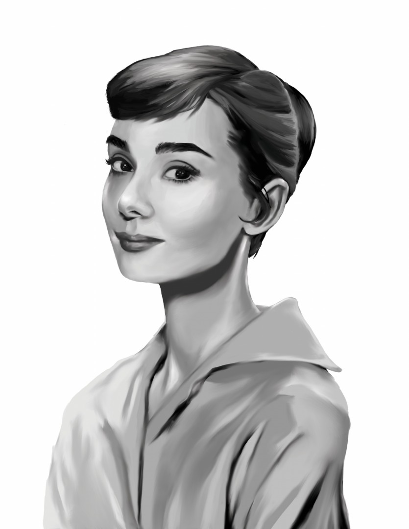 Audrey Hepburn - artwork by Rhea Kristine  Elnar:  Celebrities, Realism, Digital, Paper