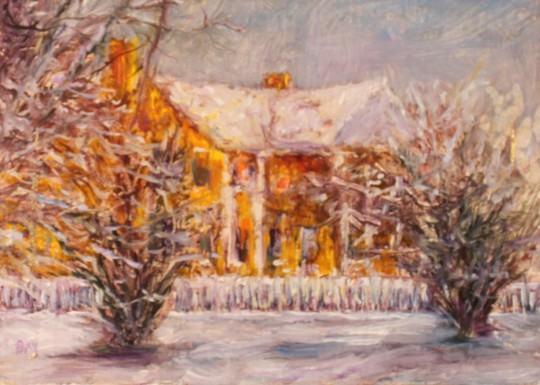 yellow house in snow