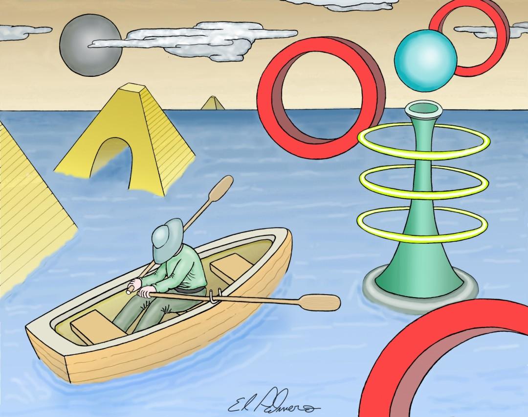 the boatman - artwork by Dennis Palmer:  Fantasy, Surrealism, Acrylic, Canvas