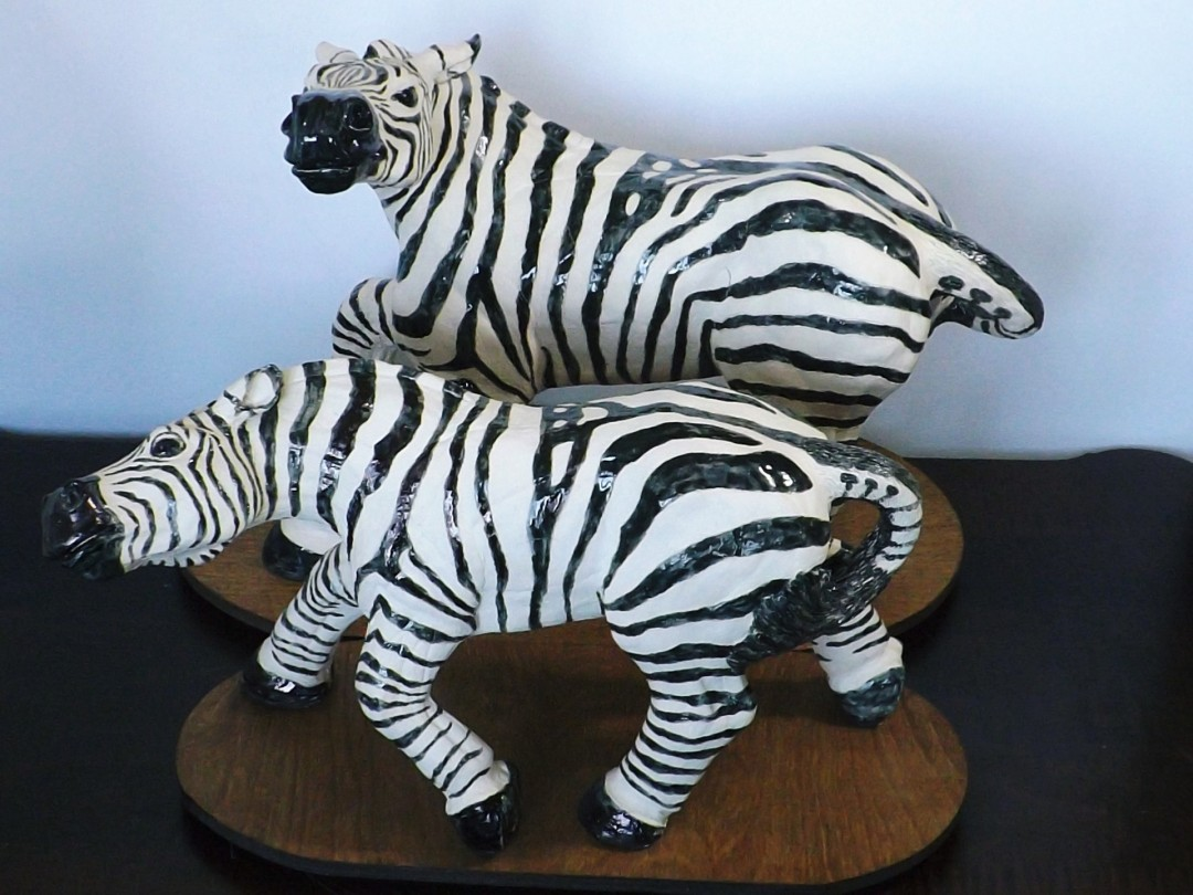 Snarling Back (male & female Grant Zebras) - artwork by B. Berne Smith:  Animals, Realism, Clay, Other