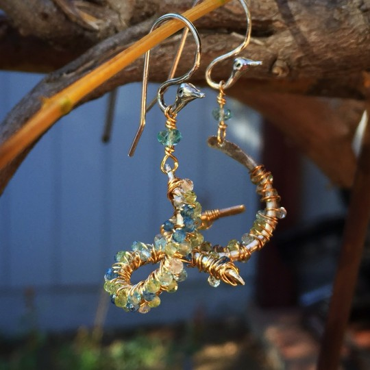 Faceted Semi-Precious Stones wrapped on Sterling and hung on 14k gold fill earwires