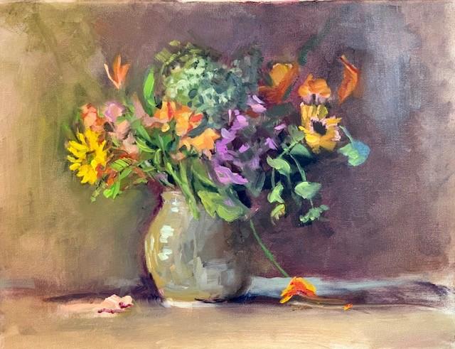 still life, beige vase with fresh flowers