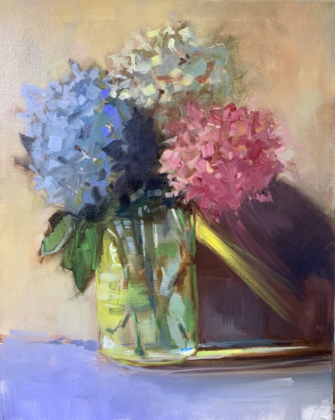 Chrysanthemums - artwork by Donna Gapen:  Botanical, Impressionism, Canvas