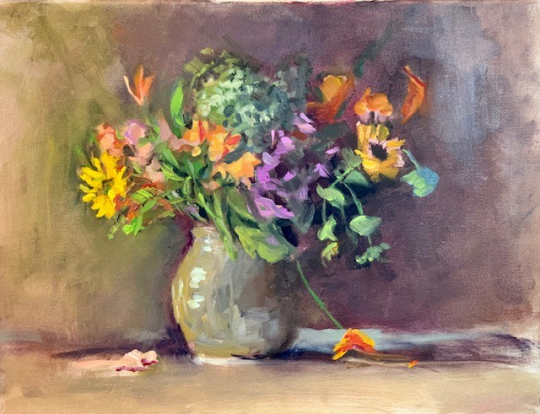still life, beige vase with fresh flowers