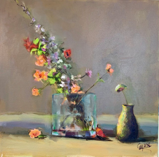 Spring blossoms in glass vase