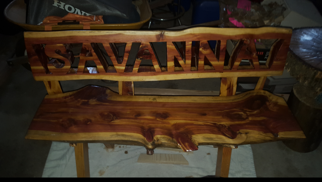 Customized Red Cedar Bench - artwork by Angie Herz:  Landscape, Modern, Other, Woodcut