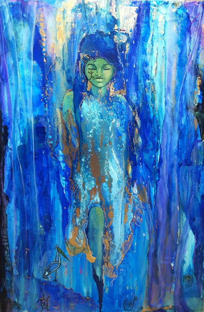 Taino Emergence - artwork by Lucy Giboyeaux: latinx, latina, latino, migration, Identity, Water, bird, turtle, coki, coqui, Green, gold, woman, figures, waterfall, symbols, taino symbols, girl, Blue, Puerto Rico, puertorican artist, taino, taina Figures, Mixed Media, Canvas