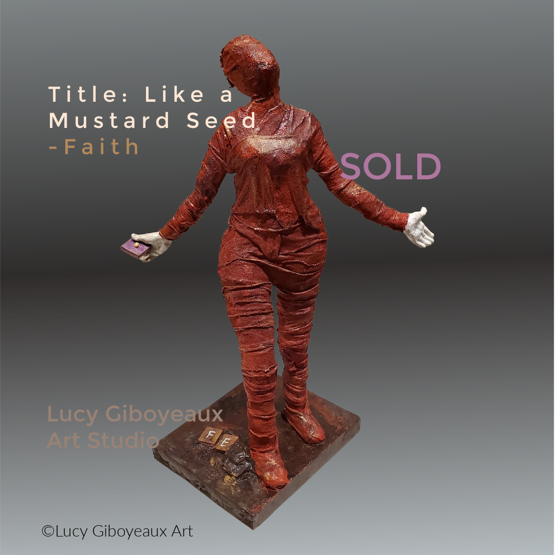 Like a Mustard Seed - Faith - artwork by Lucy Giboyeaux: sculpture, escultura, red, white hands, faith, spiritual, unique, mixed media, cloth Figures, Mixed Media, Other