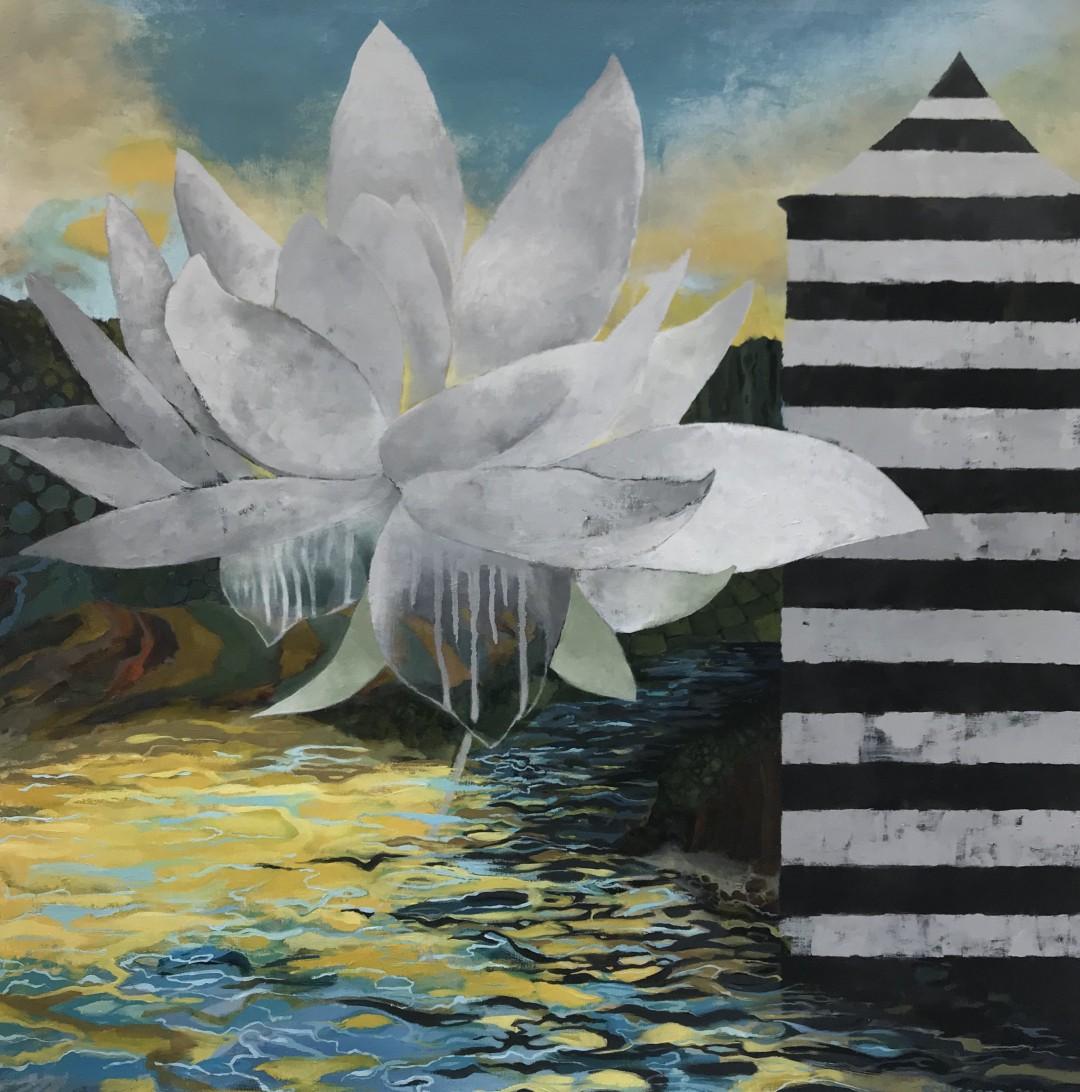 Hurricane Iniki Series: Quiet  - artwork by Susan Schiesser: ocean, island, lotus, water, reflection, sunlight, shrine, stripes Nature, Impressionism, Oil, Canvas
