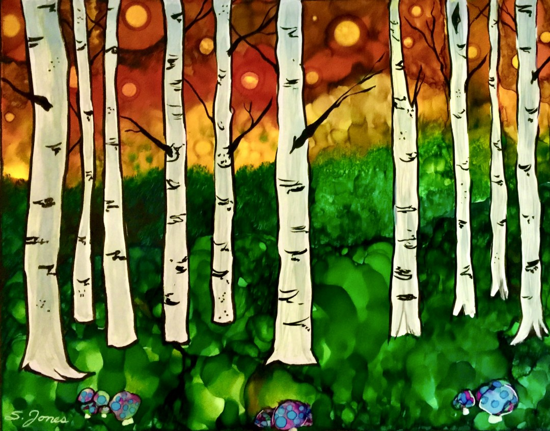 Toadstools and Fireflies fireflies toadstools firefly forest woods apsen birch tree trees alcohol ink pen landscape colorful