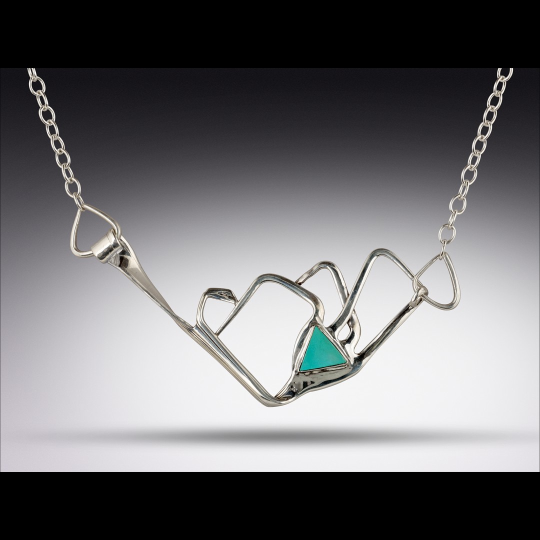 Silver Fork Mountain Range Necklace with Turquoise Stone