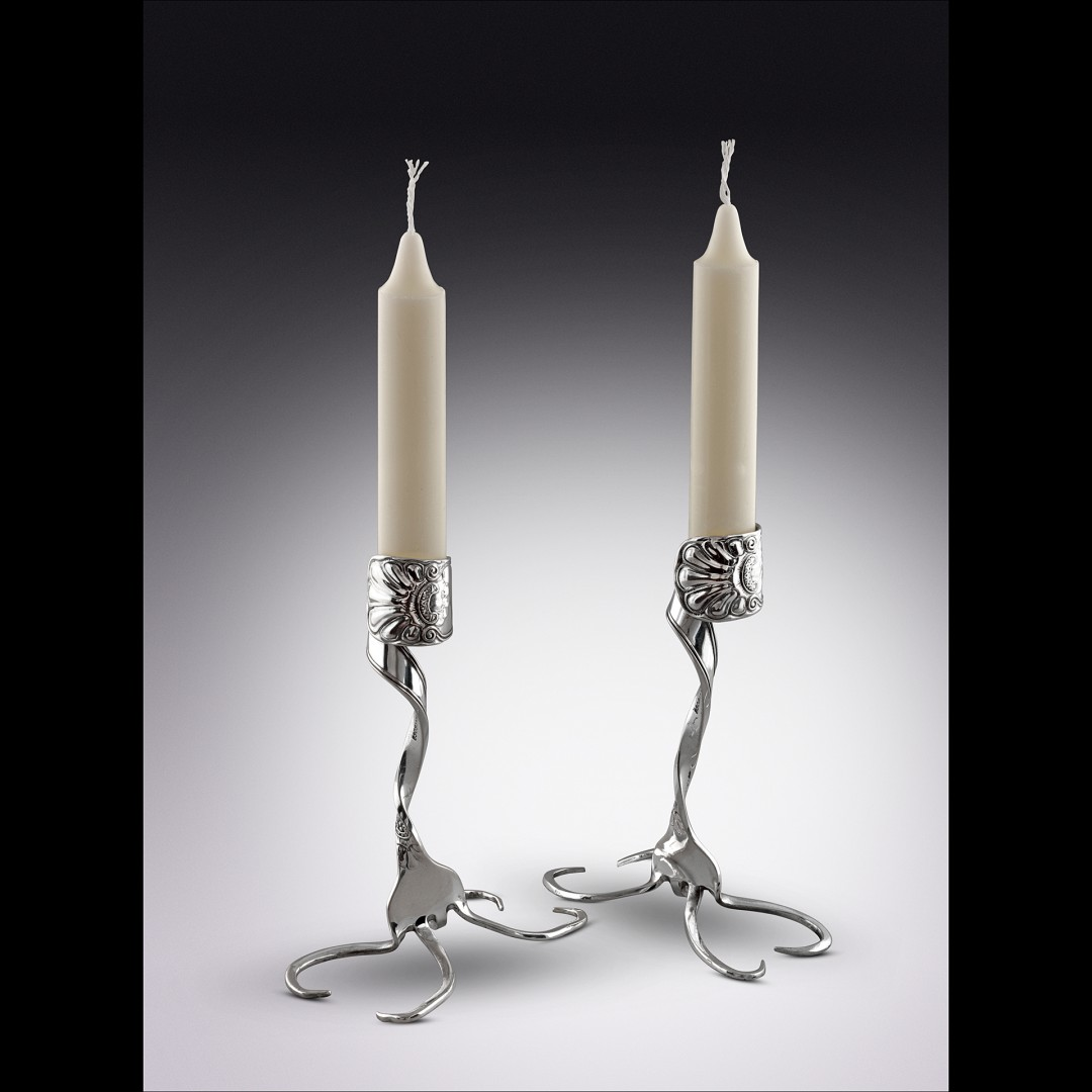 Twisted Fork Silver Candlestick Set