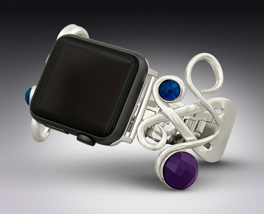 Silver Fork Apple Watch Band with Natural Sapphires & Amethysts